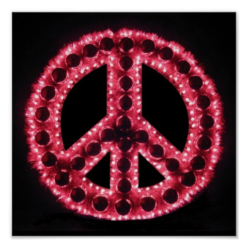 red peace sign poster