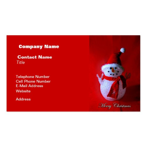 Red Peace Sign Snowman (Merry Christmas) Business Cards