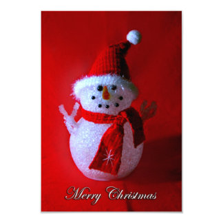 Red Peace Sign Snowman (Merry Christmas) Card
