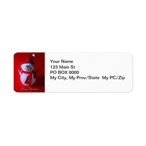 Red Peace Sign Snowman (Merry Christmas) Labels