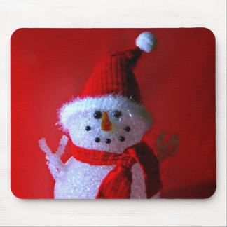 Red Peace Sign Snowman (Merry Christmas) Mouse Pad