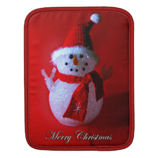Red Peace Sign Snowman (Merry Christmas) Sleeve For iPads