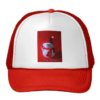 Red Peace Sign Snowman (Merry Christmas) Trucker Hat