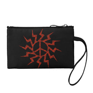 Red Peace Sign Star Change Purse