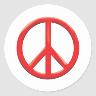RED PEACE SIGN ROUND STICKER