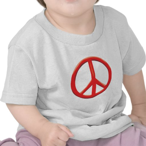 RED PEACE SIGN TEE SHIRTS