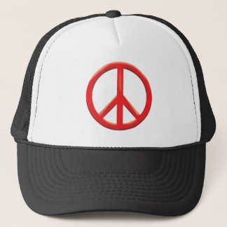 RED PEACE SIGN TRUCKER HAT