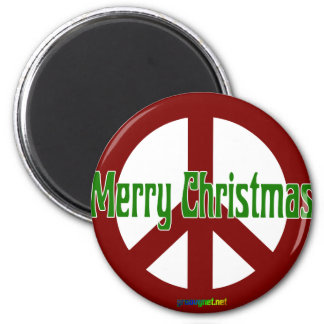 Red Peace sign with Merry Christmas 2 Inch Round Magnet