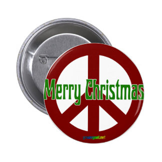 Red Peace sign with Merry Christmas Button