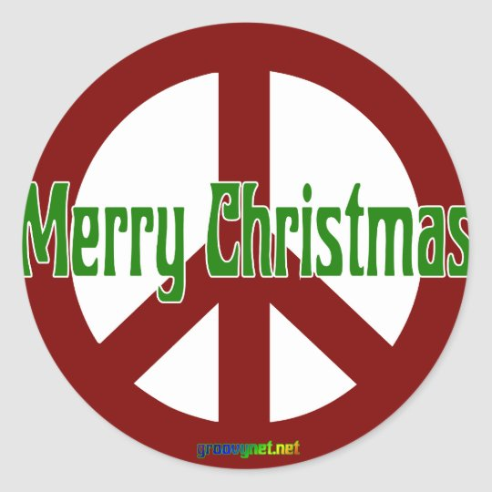 Red Peace sign with Merry Christmas Classic Round Sticker