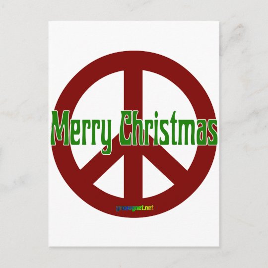 Peace Christmas Sign.Red Peace Sign With Merry Christmas Holiday Postcard
