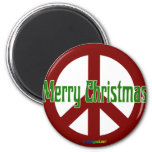 Red Peace sign with Merry Christmas Refrigerator Magnets