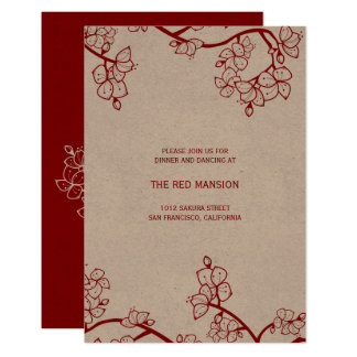Red Peach Blossoms Chinese Wedding Reception Card