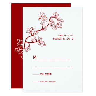 Red Peach Blossoms Chinese Wedding RSVP Card