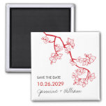 Red Peach Blossoms Custom Save The Date Magnet