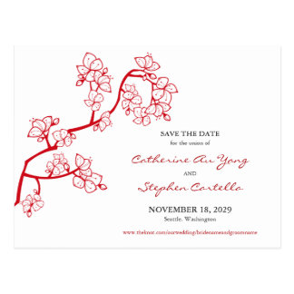 Red Peach Blossoms Custom Save The Date Postcard