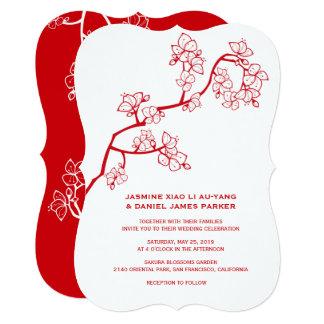Red Peach Blossoms Sakura Chinese Wedding Invite