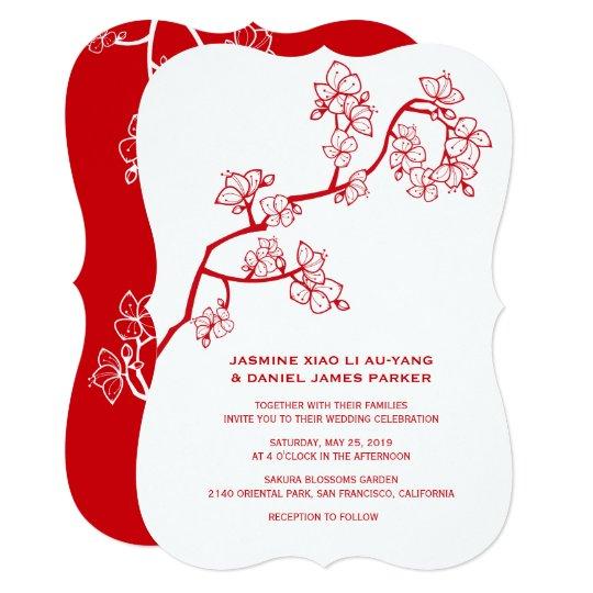 Chinese Wedding Invitations Nyc: Red Peach Blossoms Sakura Chinese Wedding Invite