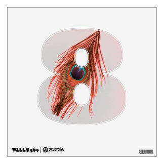 Red Peacock Feather on Gray 8 Wall Decal