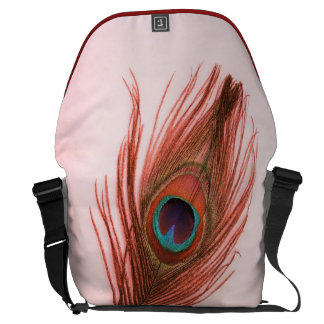 Red Peacock Feather on Pink Courier Bag