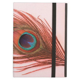 Red Peacock Feather on Pink Cover For iPad Air