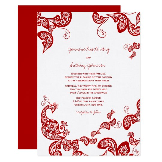 Red Peacock Floral Paisley Asian Wedding Invite