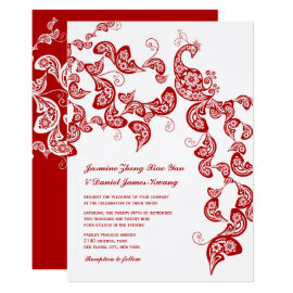Red Peacock Floral Paisley Bohemian Wedding Invite