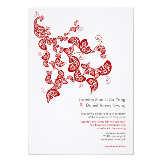 Red Peacock Floral Paisley Chic Stylish Wedding Card