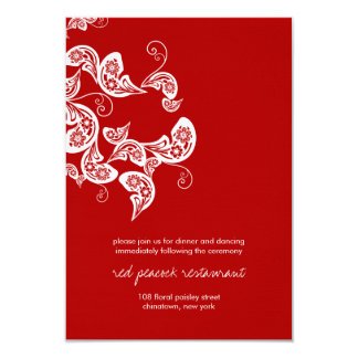 Red Peacock Floral Paisley Chic Wedding Reception Card