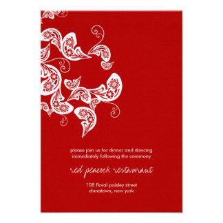 Red Peacock Floral Paisley Chic Wedding Reception Announcements