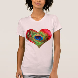 Red Peacock Heart Tees