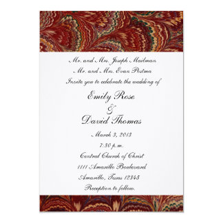 Red Peacock wedding invitation