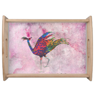 Red Peafowl Service Trays