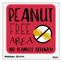 Red Peanut Free Area School Daycare or Office Wall Sticker