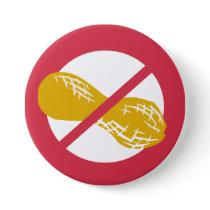 Red Peanut Free Nut Allergy Kids Pinback Button