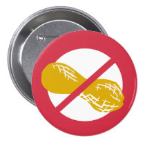 Red Peanut Free Nut Allergy Kids Pinback Button