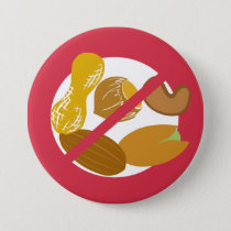 Red Peanut Tree Nut Free Nut Allergy Kids Button