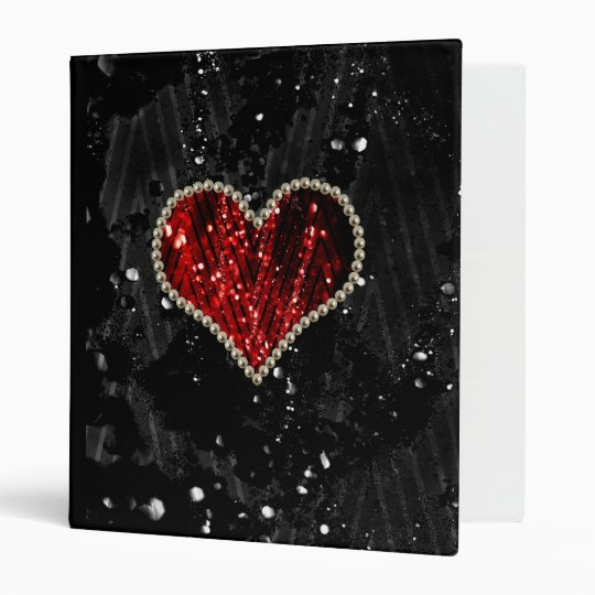 Red Pearl Heart 3 Ring Binder