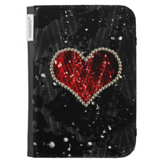 Red Pearl Heart Cases For Kindle