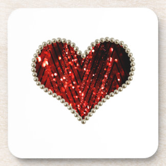 Red Pearl Heart Drink Coaster