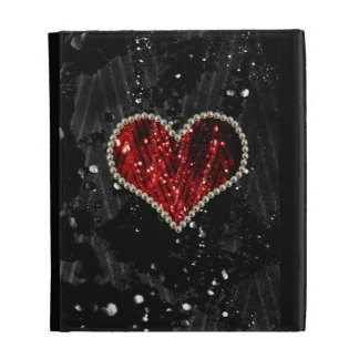 Red Pearl Heart iPad Folio Covers