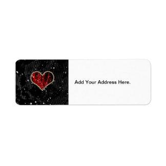 Red Pearl Heart Return Address Label