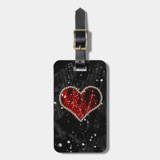 Red Pearl Heart Travel Bag Tag