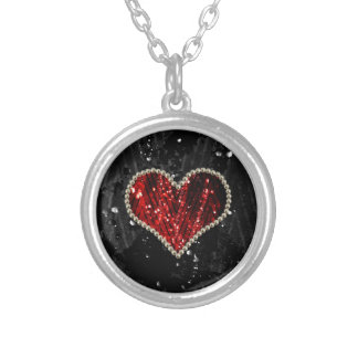 Red Pearl Heart Silver Plated Necklace