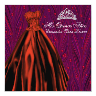 Red Pearls Red Dress Purple Red Quinceanera Card