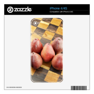 Red Pears on a Wooden Chess Board Decal For The iPhone 4S
