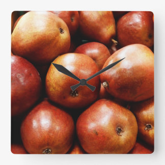Red Pears Square Wall Clock