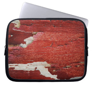 Red Peeling Paint Texture Laptop Computer Sleeve