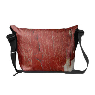 Red Peeling Paint Texture Messenger Bags