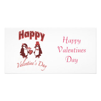 Red Penguin Happy Valentines Day Card